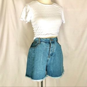 GHANDA Bel Air high waist Denim shorts Size 14